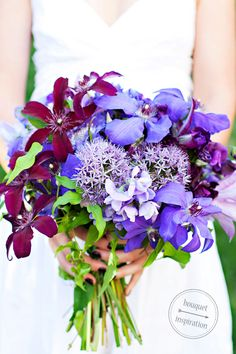 One Hitched Lane features Purple Wedding Bouquet by Cori Cook Floral Design