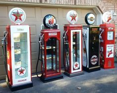 beautiful kustom petro display cabinets. authentic glass globe, gas hose and nozzle. all quality vinyl decals. perfect for your priceless collectables, liquor bottles or anything you want to display. prices range from$1495.00 to $1895.00. we also do custom orders. available for viewing in grafton, please email for appointment Hutch Display, Display Cabinets, Display Case, Old Gas Pumps, Vintage Gas Pumps, Texaco, Car Themed Bedrooms, Pompe A Essence, Kids Room Paint