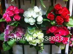 6 Bouquet  12 buds Artificial rose yellow pink white multiple color rose Silk Flower Gift  wedding home decorative ship randomly $18.90