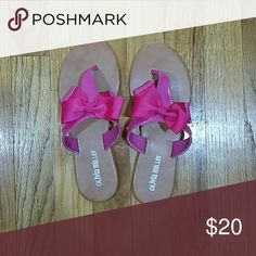 Olivia Miller Pink Thong Slippers Brand New. Beautiful pink bow accented slippers. Olivia Miller Shoes Slippers