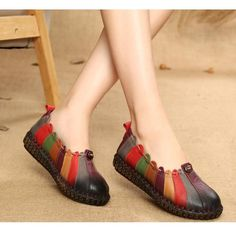 Socofy Socofy Rainbow Weave Leather Soft Flat Vintage Loafers is cheap and comfortable. There are other cheap women flats and loafers online. Black Leather Shoes, Leather Loafers, Loafers For Women, Custom Shoes, Types Of Shoes, Beautiful Shoes, Womens High Heels, Designer Shoes, Me Too Shoes