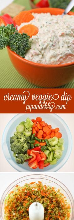 Creamy Vegetable Dip - this delicious dip is PACKED with vegetables. It is sooo addicting!