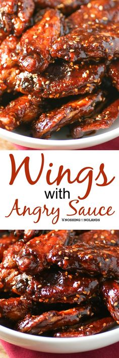 Wings with Angry Sauce by Noshing With The Nolands, with their fiery sweet heat, are perfect to serve for game day or any day! A surefire hit! (Recipes With Chicken Wings) Chicken Wing Recipes, Baked Chicken, Recipe Chicken, Great Recipes, Favorite Recipes, Easy Recipes, Bbq, Barbecue Sauce, Football Food