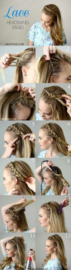 headband braid long hairstyle tutorial / http://www.himisspuff.com/easy-diy-braided-hairstyles-tutorials/5/