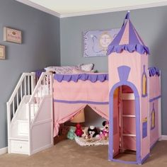 School House Princess Loft with Stairs - Kids Beds at Kids Furniture Mart