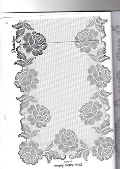 This Pin was discovered by Ayl Filet Crochet Charts, Crochet Borders, Crochet Stitches Patterns, Stitch Patterns, Crochet Table Runner, Crochet Tablecloth, Crochet Doilies, Crochet Lace, Fillet Crochet