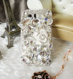 samsung galaxy s3 case - samsung galaxy s3 cover - samsung i9300 case white flowers - Bling crystal Samsung Galaxy S III Case i9300 cover. $21.98, via Etsy.