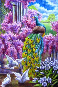 Peacock Painting - Peacock From A Dream by Sebastian Pierre