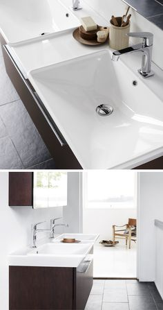 The Calidris Medium washbasins are made for the modern bathroom. The depth of 46 cm, a large range of single, double and asymmetrical basins open up lots of opportunities.