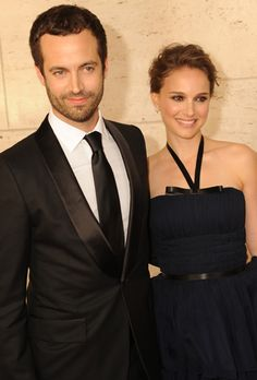Brides.com: Expecting (and Engaged!) Celebrities. Natalie Portman. Engaged: December 2010Pregnancy announcement: December 2010Married: August 2012  Portman tricked everyone when she and husband Benjamin Millepied wore what looked like wedding bands to the Oscars in February 2012.