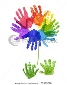 Handprint flowers - kindergarten art. Great activity for art that still incorporates the plants/flowers.