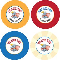 Dumbo Circus Personalized Circle Tag/Labels - Personalized - PRINTABLE- Digital File. $4.00, via Etsy.