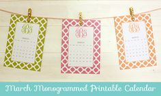 Free Printable Monogrammed Calendars- Type in your monogram and print.