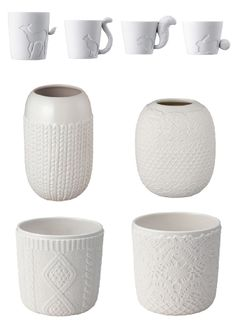 Love these mugs! The mugs and beautiful white vases were manufactured by Japanese company, Kinto. They're available here in the U.S. at Korin, a tableware and knife shop located in New York.