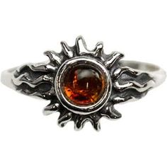 Featuring the stylized image of a radiant sun, this sterling silver ring with a small amber stone at its center is perfect for any collection. Sterling silver, amber. Size 5-10.