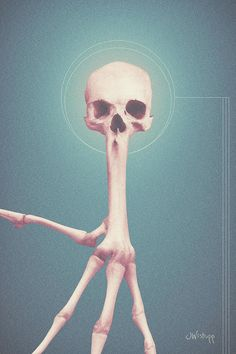 """""""Halo Four"""" - hybrid of skull and bird wing bones, with circle halo and geometrical lines, against bare background. Surreal art in dark blue, brown, and gold by Joseph Westrupp, bestilled.com. Click the image to buy a premium-quality print (acid-free paper with archival ink). Many sizes available, ships within 2 - 3 business days."""