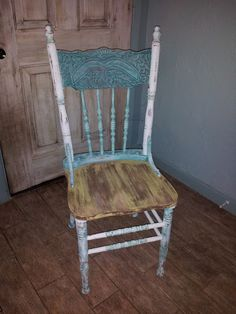 shabby Gypsie pressed back chair. I am not a fan of this paint job, but that chair is fabulous.
