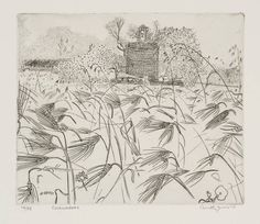Anthony Gross Title Coulourgues Date 1977 Medium Intaglio print on paper Dimensions Image: 200 x 238 mm Collection Paper Dimensions, Romanesque, British Museum, Printmaking, Book Art, Grass, Vintage World Maps, Etchings, Drawings