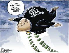 GOP campaign MEGA DONORS. By Stuart Carlson #GoComics #PoliticalCartooon #GOP #Politics #SuperPacs