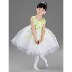 Nice Ball Gown Jewel Knee-length Satin And Tulle Flower Girl Dress With Appliques – USD $ 49.99
