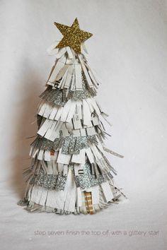 DIY glitter fringe christmas tree