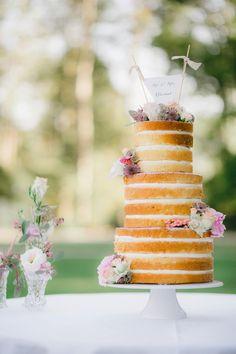 Romantic Vintage Naked Wedding Cake