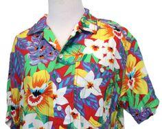 721ec313 HAWAIIAN SHIRT WOMEN | Aloha Shirts Luau Outfit Red Tropical Floral Summer  Ladies Petite Liz Wear Small
