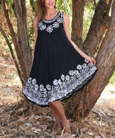 Look what I found on #zulily! Black Floral Embroidered Sleeveless Dress - Women #zulilyfinds