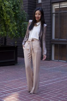 ALC leather jacket, Theory blouse, Zara pants, Aqua for Bloomingdales necklace, and Alaia heels.