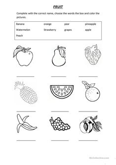 VOCABULARY FRUIT worksheet - Free ESL printable worksheets made by teachers English Activities For Kids, English Grammar For Kids, Learning English For Kids, English Worksheets For Kids, 2nd Grade Worksheets, English Lessons For Kids, Kids English, Phonics Worksheets, Vocabulary Activities