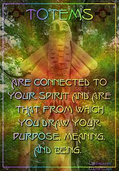Totems are connected to your spirit and are that from which you draw your purpose, meaning, and being.