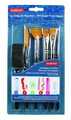 Derwent Techniques Brushes, Pack, 6 Count (2302003)