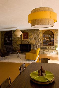 decorated in 1970s style - I like the idea of incorporating some of these elements into my home decor