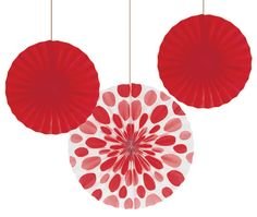 Solid Classic Red Paper Fans