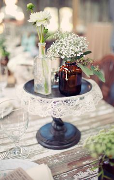 Re-used bottles and baby's breath - Simplicity is sometimes the best!