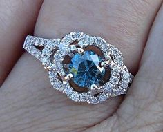 Blue Diamond Flower Engagement Statement or by LuxinelleJewelry