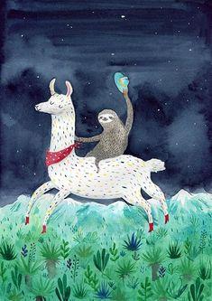 Sloth riding a llama