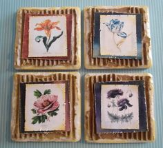 Altered Art Tiles. Rave Designs. These are botanical tiles I made using corrugated cardboard.  The edges of the mat and the botanical picture have distressed edges.  Vintage Mixed Media Donna Salazar inks were used to give it an aged appearance.
