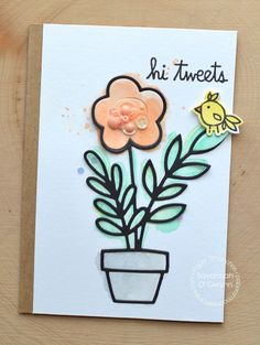 Hi Tweets card by Savannah OGwynn for Paper Smooches - Feathered Friends, Potted Plant Die