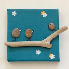 Tableau galets oiseaux bois flotté fond bleu turquoise  format miniature 10x10cm