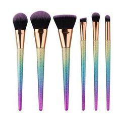 Rainbow Deluxe - 6 Essentials Brush Set-AQUALUZZA  Makeup tools for best results. Beauty tools. #makeup #brushes