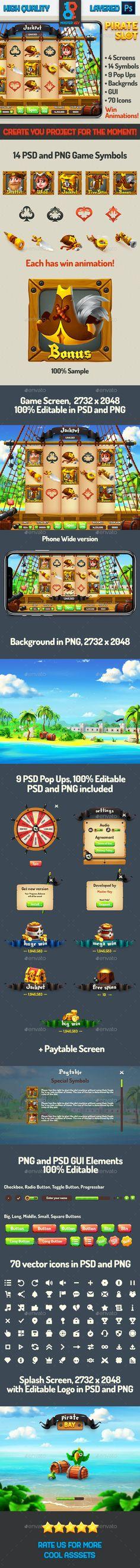 Full Pirate Bay Slot Asset by Master_Key | GraphicRiver Game Gui, Master Key, Progress Bar, Splash Screen, Special Symbols, Game Background, Game Logo, Retina Display, Casino Games