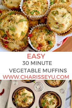 In 30 minutes you'll have these savory vegetable muffins ready. It's packed with vegetables and is a delight to eat for little ones. Easy Toddler Meals, Easy Meals For Kids, Quick Easy Meals, Kids Meals, Muffin Recipes, Easy Recipes, Healthy Recipes, Savoury Vegetable Muffins, Quick And Easy Breakfast