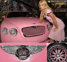 Paris dreamed to buy Bentley for a long time, especially a pink one. In December 2008 she bought for Christmas this extremely pink most expensive car. It worth $200,000. Recently Paris Hilton decided to add new features to her luxury car. At the British HQ firm in Crewe she's ordered diamond-encrusted dashboard for her Bentley Continental GT.