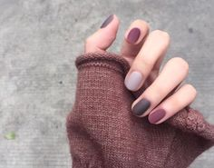 nail polish nails simple 66 unique and beautiful personality nail colors designs 2019 16 Gelish Nails, Matte Nails, Acrylic Nails, Gel Manicure, Gradient Nails, Stiletto Nails, Dark Nude Nails, Short Nail Manicure, Moon Manicure