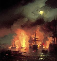 Page: Battle of Cesme at Night Artist: Ivan Aivazovsky Completion Date: 1848 Style: Romanticism Genre: battle painting Technique: oil Material: canvas Dimensions: 193 x 183 cm Gallery: Aivazovsky National Art Gallery, Feodosiya, Ukraine Russian Painting, Russian Art, Bateau Pirate, Ship Paintings, Chios, Illustration, A4 Poster, Art For Art Sake, Vintage Artwork