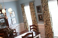 A Fresh Dining Room, From deep red to light blue, warm tones to cool tones, country to more modern/traditional, handmade curtains, re-finish...