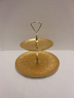 Vintage Elynor 22 Karat Weeping Gold 2 Tiered  Tidbit Tray via Etsy