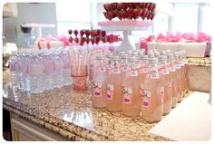 individual pink lemonades and water bottles decked out with labels found on Etsy.  The cute little straws were also an Etsy find.
