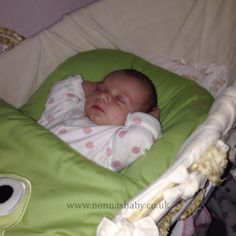 """Evie chills-out in her Googly Green Nap Mat! Looking calm and composed, and no more problems with her kicking off her blankets now. Mummy Jodie told us """"As you can see from the   picture she is very chilled in it!"""" Nonna is delighted! :-) • Find out more about Nap Mats: https://nonnasbaby.co.uk/baby-nap-mats/"""